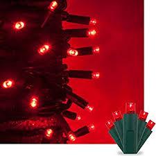 christmas light blinker adapter amazon com set of 35 red mini christmas lights green wire home