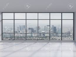 Office View by Office With Big Window With View To City 3d Render Stock Photo