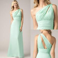 unique one shoulder mint green bridesmaid dresses for cheap