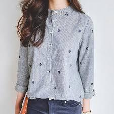 2017 embroidery fashion korean women loose casual tops long sleeve
