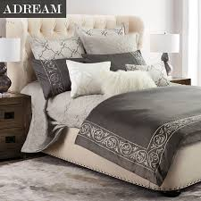 Embroidered Bedding Sets Adream 100 Cotton 4pcs Bedding Set Grey Embroidered Bedding