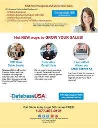 Free Small Business Email Address by Databaseusa Com Home Mailing Lists Email Marketing Databases