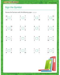 sign the symbol u2013 printable fraction worksheet for 4th grade