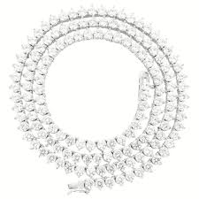 white chain necklace images Vermeil 3mm 3 prong white gold iced out tennis chain necklace jpg
