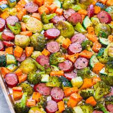 thanksgiving dinner vegetables sheet pan turkey sausage and vegetables averie cooks
