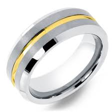 mens yellow gold wedding bands 8mm mens tungsten wedding ring with yellow gold channel