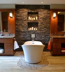 River Rock Bathroom Ideas Varnished Wood Console Table Stone Bathroom Accessories