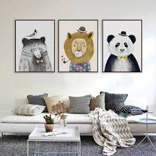 aliexpress com buy triptych watercolor paintings nordic lion