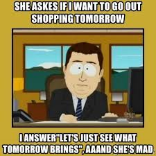 She Mad Meme - she askes if i want to go out shopping tomorrow i answer let s just