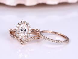 moissanite ring set 6x8mm oval cut moissanite ring v shape half