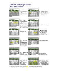 school calendar oakland unity high school