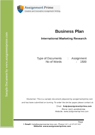 sample business report pdf international marketing research assignment sample