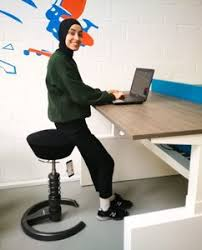 swopper high active stool combine with a standing desk