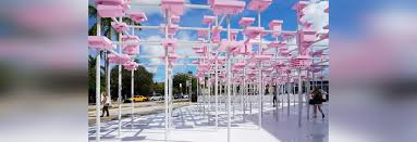 200 concept models form a pink canopy in harvard gsd u0027s unbuilt