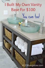 design my own bathroom free diy open shelf vanity with free plans diy vanity open shelves
