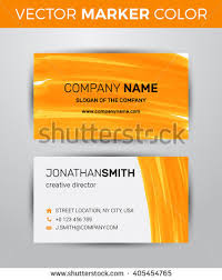 twosided business card template orange paint stock vector