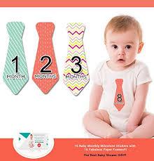 zoe baby monthly stickers necktie milestones for months