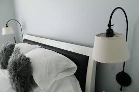 over bed reading lights bedroom bedroom design idea using white bed frame and black white
