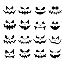 halloween pumpkin faces scary halloween pumpkin faces icons set