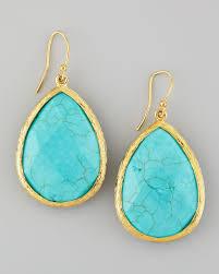 turquoise drop earrings lyst panacea turquoise teardrop drop earrings in blue