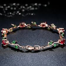 crystal chain link bracelet images Elegance of diamonds or rubies and green garnet women 39 s gorgeous jpg