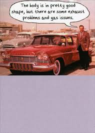 man with old car funny humorous birthday card by recycled paper