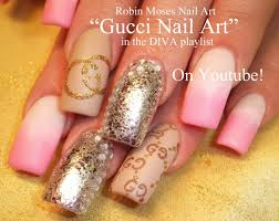 gucci nail art matte pink and white with silver glitter diva