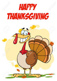 free happy thanksgiving happy thanksgiving greeting with turkey cartoon character stock