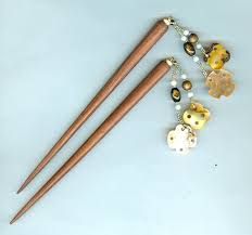 hair sticks summer hair accessory wooden hair sticks and gold shell dangles