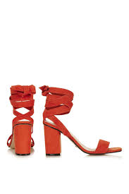 topshop rapping ankle tie sandals in red lyst