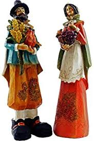 thanksgiving pilgrim figurines 10 inch pack of 2 harvest collection thanksgiving pilgrim