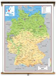 geographical map of germany germany physical educational wall map from academia maps