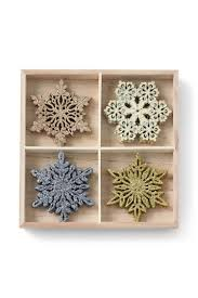 shimmering wooden snowflake ornaments from lands end