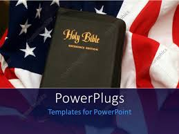 Flag With Bible Powerpoint Template Holy Bible Over United States Of America Flag