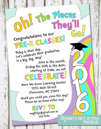 oh the places you ll go graduation oh the places you ll go preschool graduation invitation