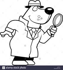 cartoon illustration bear detective magnifying glass