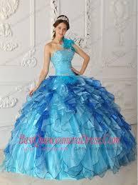 quinceanera dresses aqua aqua blue gown one shoulder floor length satin and organza