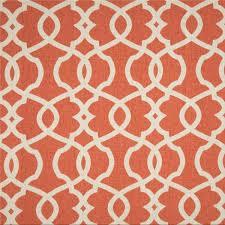 Tangerine Home Decor Emory Tangerine Orange Contemporary Cotton Print Drapery Fabric By