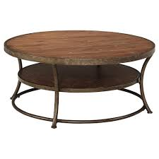 marlton round coffee table threshold nartina round cocktail table light brown signature design by
