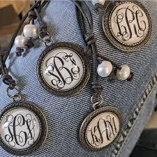 Monogram Initials Necklace Monogram Initial Pendant On Leather Original Stiles