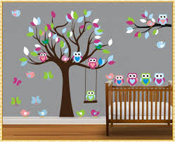tree wall decals stickers home decorations ideas image owl tree wall decals design