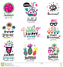 summer season the logo and illustrations stock vector image