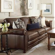 Leather Brown Sofas Hamilton Sofa Leather Living Room Bassett Furniture