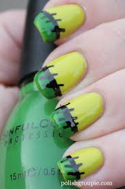 nail aween nail art challenge frankenstein french tips polish