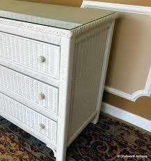 Henry Link Bedroom Furniture by Very Good 1980s Henry Link White Wicker Glass Top 6 Drawer Bedroom