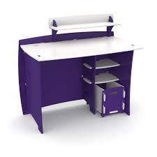 desk with shelves on side bright purple computer desk with knock down design plus side storage
