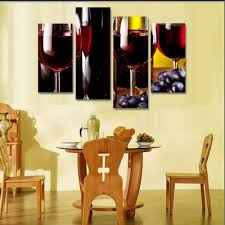 canvas painting 4 piece canvas art red wine bottles grapes hd