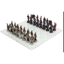 civil war chess set with glass board 3 3 4 inch high chess pieces