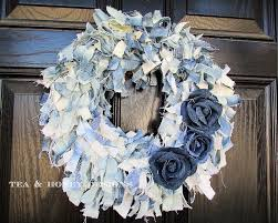 how to make wreaths how to make a denim rag wreath with flowers hometalk