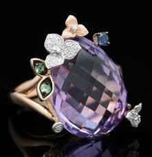 14k gold large diamond amethyst 14k rose gold amethyst green garnet blue sapphire and diamond
